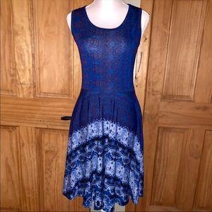 NWT M LLR Blue & White Dipped Tie Dye Nicki